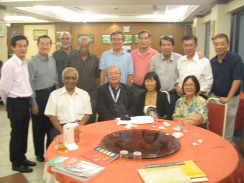 Author Frances Yip surrounded by her seniors, the Ipoh ACS old salts in KL